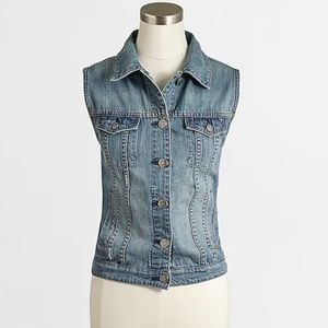 J. Crew Factory distressed denim vest X-Small XS